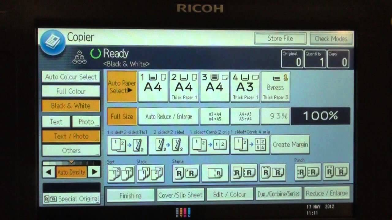 Training | Copy - 1 - 2 Sided on Ricoh Printer | Ricoh Wiki