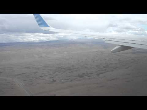 Approach and landing El Calafate Airport, Patagonia. Turbulence on approach ,Aerolineas Argentina