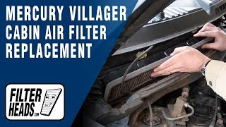 How to Replace Cabin Air Filter Mercury Villager