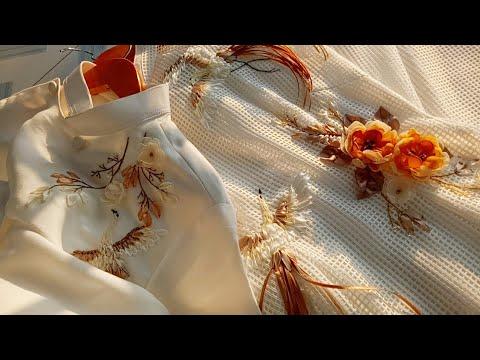 D.I.Y Yellow flowers ribbon embroidery (Hướng dẫn thêu ruy băng trên áo dài)
