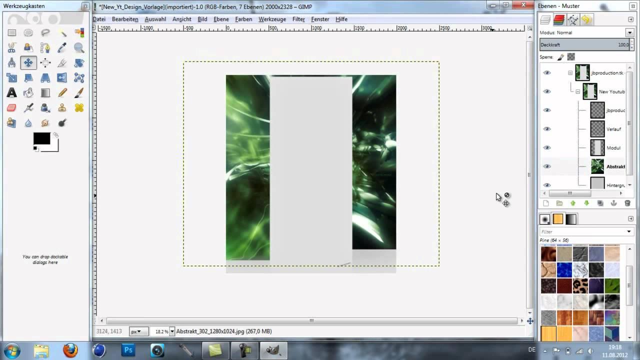 Gimp2 tutorial - Youtue Kanal Hintergrund erstellen (mit vorlage als ...
