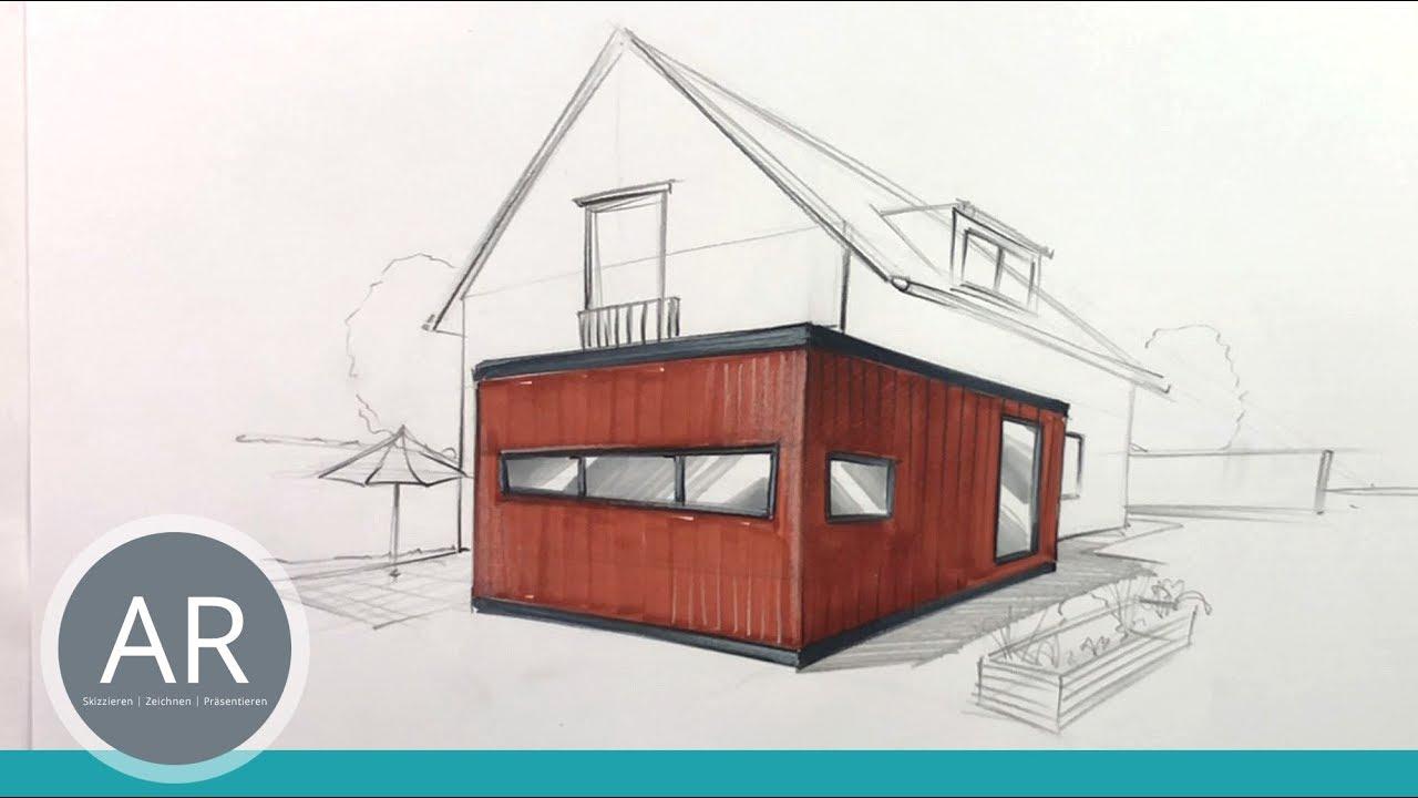 Architektur Skizzen Hauser Perspektivisch Zeichnen Lernen Architekten Seminare