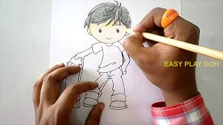 How to Draw a Boy Skateboarding Easy Step by Step for Children - Drawing for Kids Drawing Tutorial