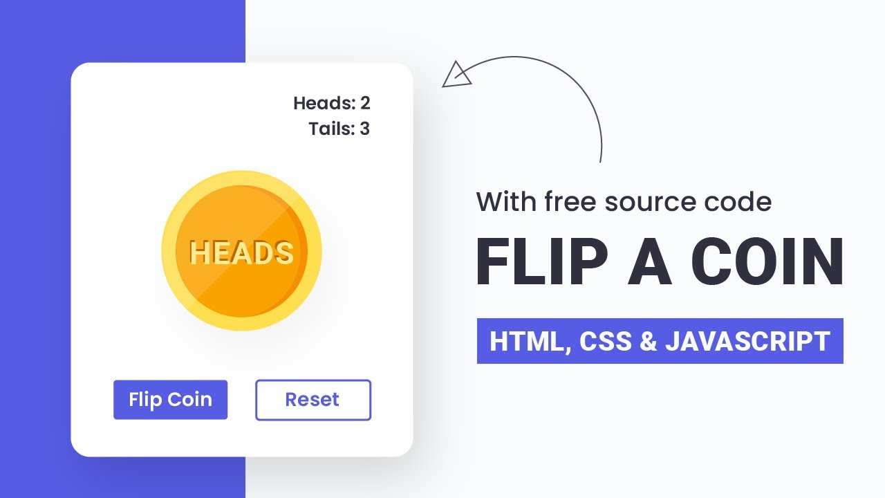 Flip A Coin   HTML, CSS & JS   Step By Step JavaScript Project