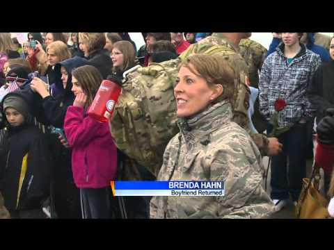 Members of 115th Fighter Wing welcomed home