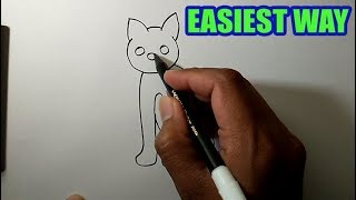 Draw so cute animals easy | Cat Simple Drawing