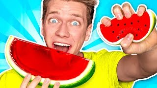 Making CANDY out of SQUISHY FOOD!!! *JELLO WATERMELON* Learn How To DIY Squishies Food Challenge