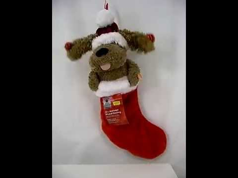 Animated Singing Motion PUPPY Holiday Christmas 23 Stocking