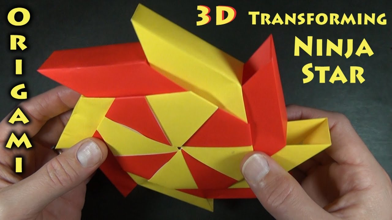 Origami 3 d transforming ninja star designed by ray bolt for Make a 3d star