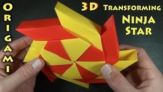 Origami 3-D Transforming Ninja Star designed by Ray Bolt