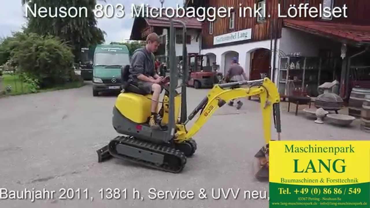 wacker neuson 803 microbagger minibagger demo @ lang machinery - youtube
