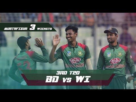 Mustafizur Rahman's 3 Wickets Against Windies | 3rd T20 | Windies tour of Bangladesh 2018
