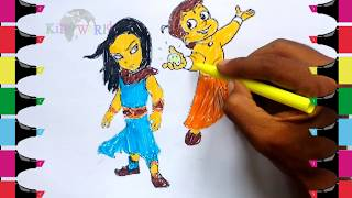 HOw to draw & Learning colors with cartoon CHOTA BHEEN AND KRISHNA/cartoon coloring page/toddlers🤗☺