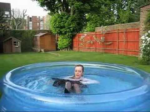 Wetlook - Wetmar Wet long blue skirt in the pool