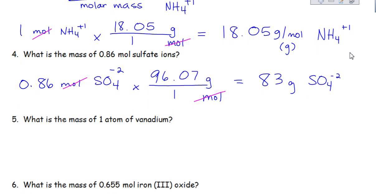 Worksheet Mole Problems Part 2
