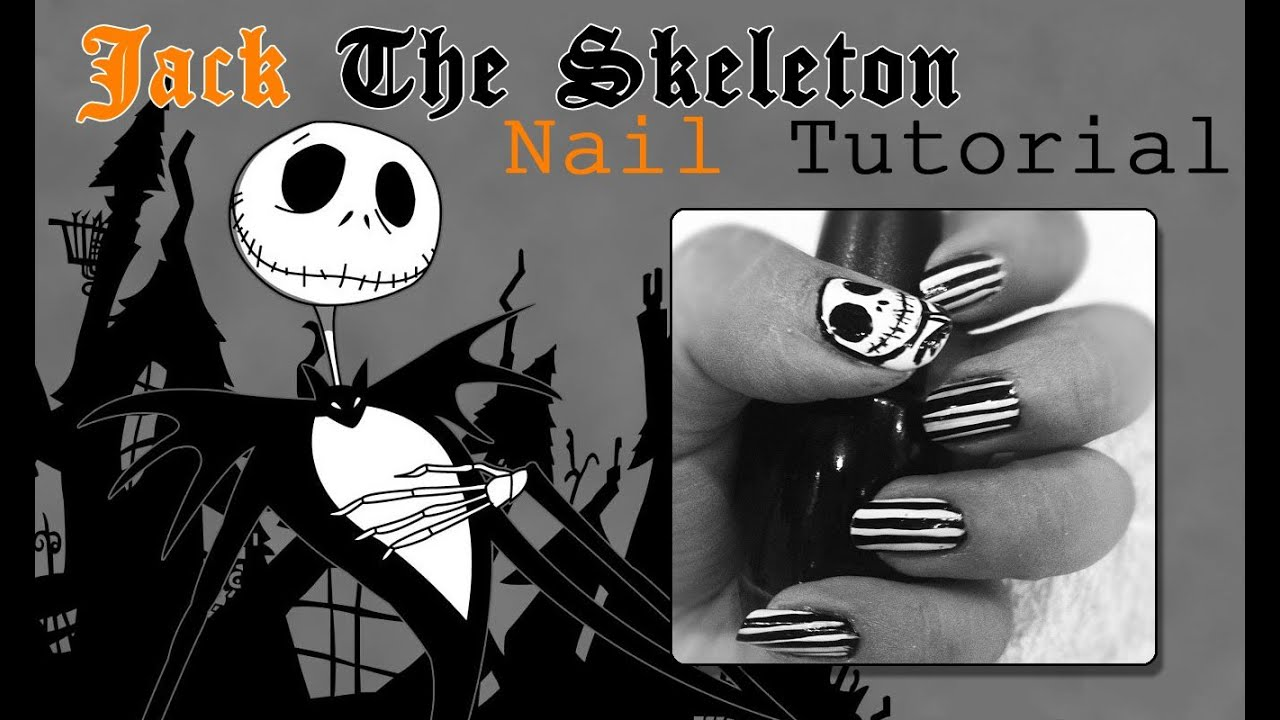 Jack Skellington Nail Art Tutorial ‪☠‬ - YouTube