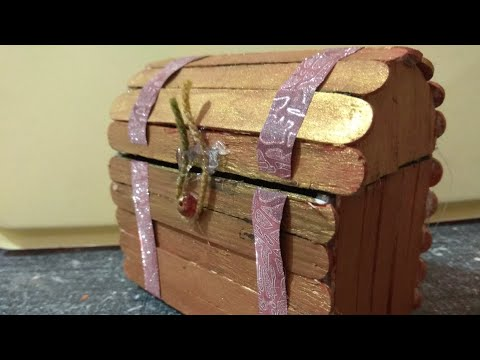 How to make Jewelry/Treasure Chest using pop sticks - DIY Treasure/Jewelry Chest Tutorial
