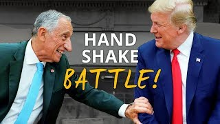 TRUMP'S Arm NEARLY RIPPED OFF In Violent Handshake Battle with Portuguese President