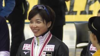 Div.A女子500m(1回目)表彰式。小平奈緒選手が1位。ワールドカップスピードスケート帯広大会、2018/11/16. 小平奈緒 検索動画 27