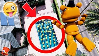 CAN ADVENTURE FREDDY SKYDIVE IN A POOL OF ADVENTURE CHICAS? (GTA 5 Mod For Kids FNAF RedHatter)