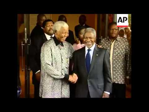 UN Secretary General meets Nelson Mandela, visit Soweto