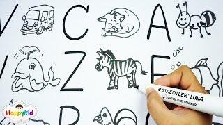 Zeichne cartoon-ABC   ABC song   Lesen lernen von A-Z   Lernen das Alphabet Mit Comic-Zeichnung