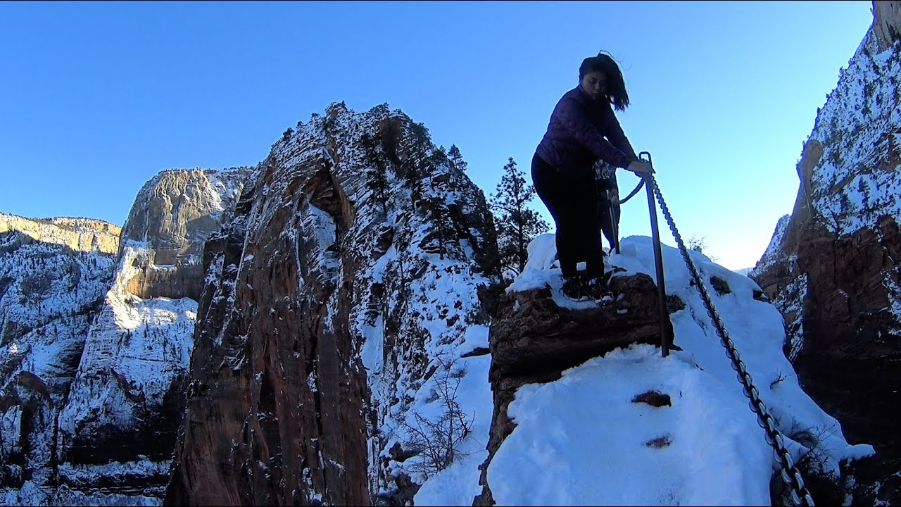 hiking down angels landing zion national park youtube