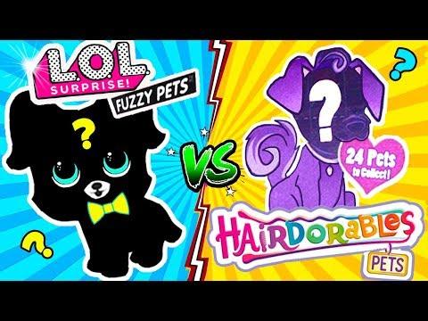 Куклы ЛОЛ СЮРПРИЗ FUZZY PETS vs  HAIRDORABLES питомцы с Волосами! Мультик LOL Surprise Dolls Play
