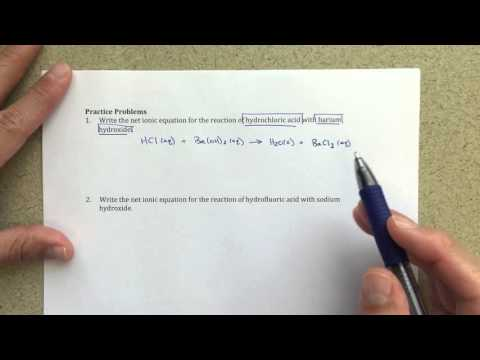 General Chemistry I - Acid-Base Reactions With Net Ionic Equations