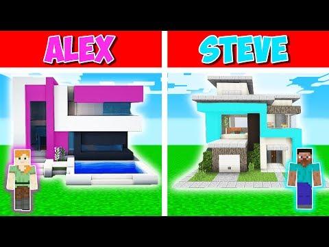 Minecraft Battle: MODERN HOUSE BUILD CHALLENGE - ALEX vs STEVE in Minecraft