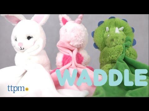 Bunny, Dinosaur & Unicorn Rattle Lovie From Waddle