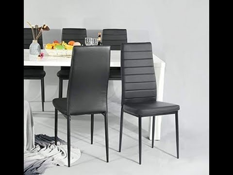 set of 4 dining chairs orange arm chair aingoo kitchen black with steel frame high back pu leather