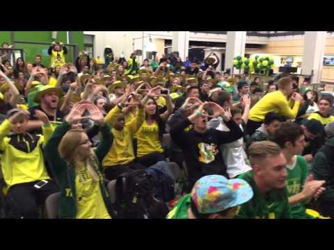 Oregon Ducks Fans Cheer On Their Team From Eugene