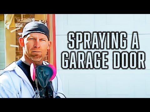 Spraying A Garage Door With Paint Sprayer. How To Paint A Door.
