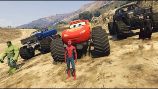 Lightning McQueen Monster Trucks Cars Racing with Superheroes Spiderman Superman Batman Hulk