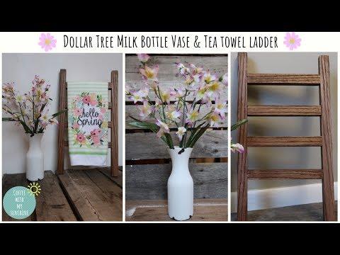 FARMHOUSE DIY DOLLAR TREE MILK BOTTLE VASE | TEA TOWEL LADDER SPRING DECOR | MAKE IT YOUR OWN MONDAY