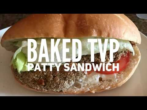 Baked TVP patty sandwich