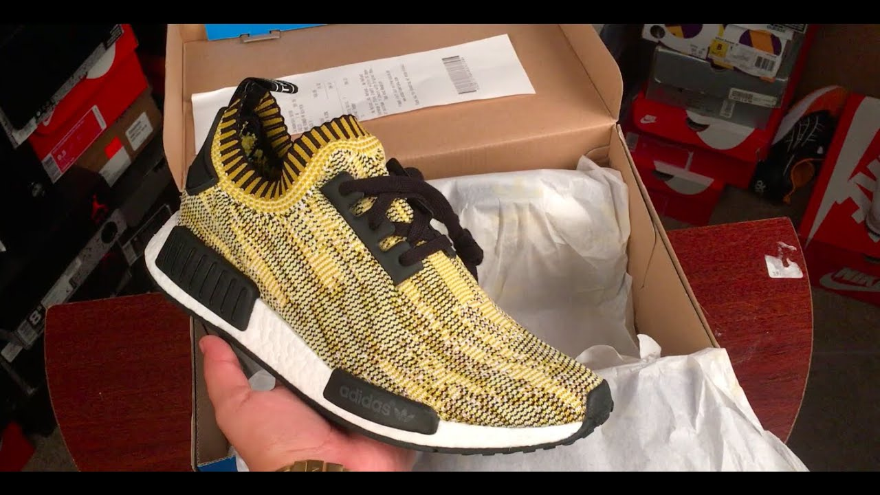 adidas nmd yellow camo on feet