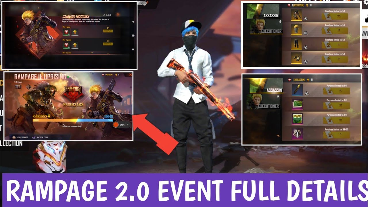 FREE FIRE RAMPAGE 2.0 EVENT FULL DETAILS | FREE FIRE RAMPAGE FREE BUNDLE EVENT | FREE FIRE NEW EVENT