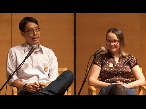 Gene Luen Yang and Raina Telgemeier at the San Francisco Public Library
