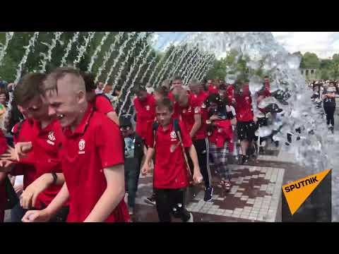 Юношеская сборная Беларуси в реконструированном парке в Ереване