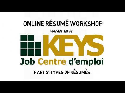 KEYS Online Resume Workshop P2: Types of Resumes