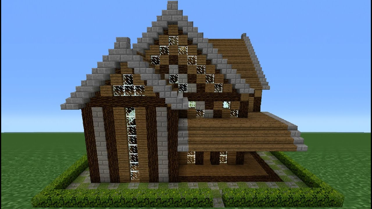 Minecraft Tutorial How To Make A Stone Wood House 3