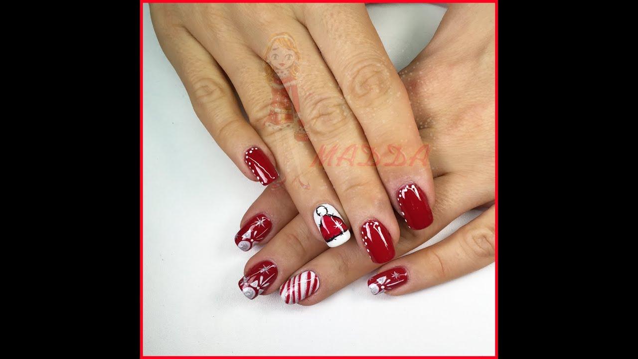 Favoloso Nail art Moncolore rosso e bianco con righe, glitter e decori  PW53