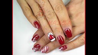 Nail art Moncolore rosso e bianco con righe, glitter e decori a mano Thumbnail