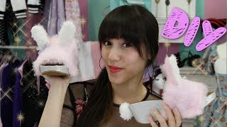 DIY I Harajuku fluffy Bunny Shoes