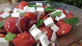Рецепт- Быстрый и лёгкий салат из арбуза