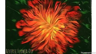 (285) Vibrant Reverse Flower Dip Acrylic Pouring Painting