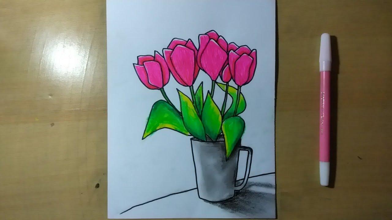 Cara menggambar bunga tulip dengan mudah - YouTube
