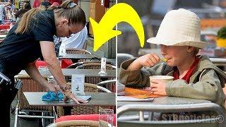 Mesera se enojó con el niño por pedir solo un helado, pero luego de limpiar su mesa comenzó a llorar